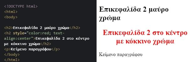 Παράδειγμα 2 ιδιοτήτων, χρώμα και στοίχιση κειμένου