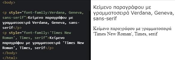 Παράδειγμα γραμματοσειρών