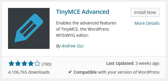 WordPress plugin για κειμενογράφο TinyMCE Advanced